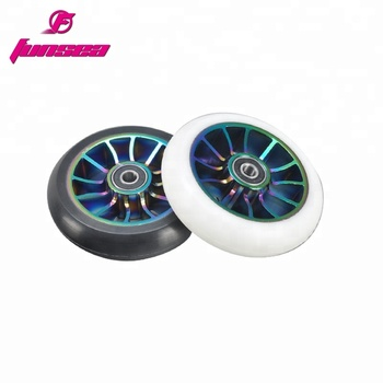 Funsea wholesale custom 12 spokes aluminum alloy 6061 kick scooter parts skatepark trick scooter fat two wheel 100mm RX-FSW-02