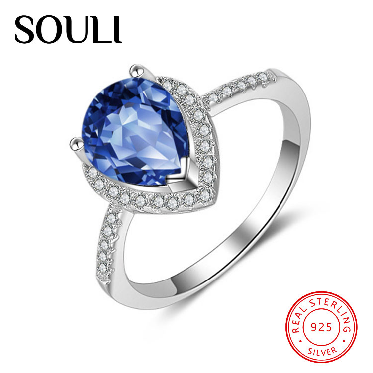 Water Drop Design White Gold Plated Big Blue Stone Ring, 925 Sterling Silver Sapphire Ring