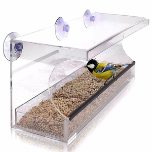 Wholesale large Clear Window Wild Bird Feeder From Tranquil Outdoors /Strong Suction cups to mount Acrylic window bird feeder
