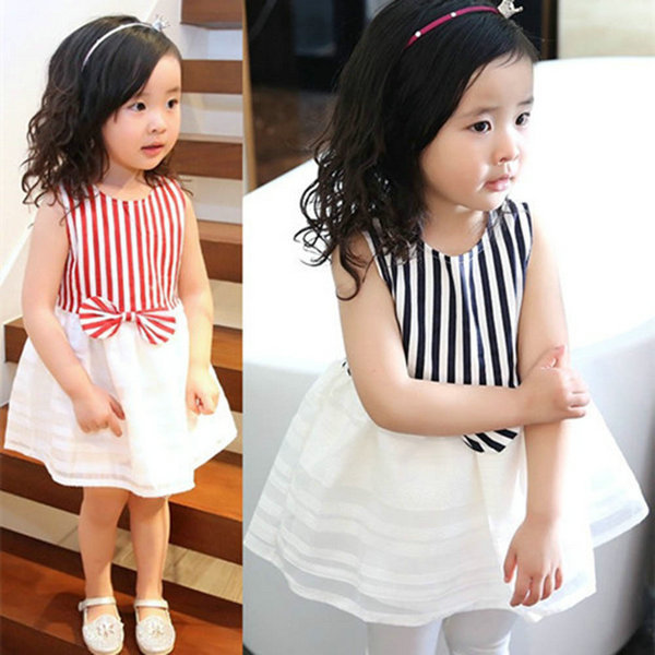 Kids Striped Tutu Bowknot Sleeveless font b Dress b font Baby Girls font b Fancy b