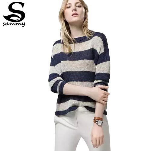 9e5f389eb3a7c9 Get Quotations · Women Casual Blue Gray Striped Striped Sweater Loose  O-neck Long-Sleeve Pullover Knitted