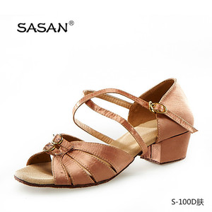 Russian Style Hot Sale Flesh Satin Latin Shoes Double Buckle Front Part Low Heel Dance Shoes S-100