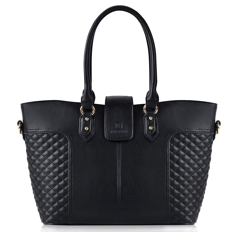 bda4fe96ccb Get Quotations · Fanspack Womens Handbags PU Leather Tote Handbags Lattice  Pattern Crossbody Shoulder Bag, Black