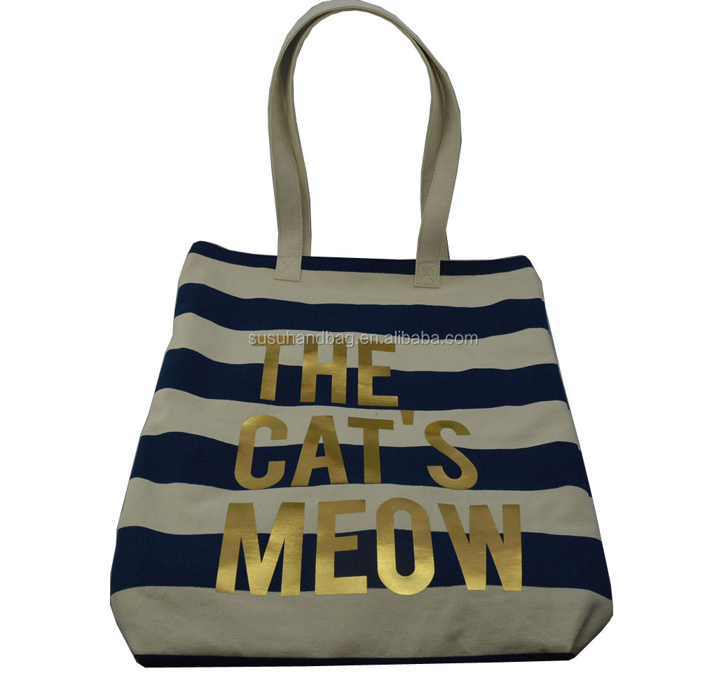 Stripes Natural Color Cotton Canvas Tote Bag With Gold Logo