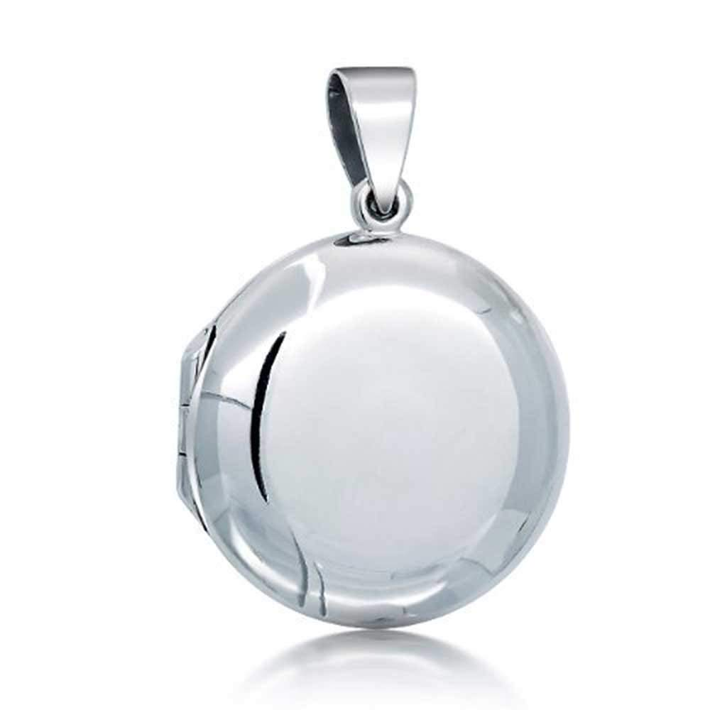 Engravable Classic Polished Round Locket Sterling Silver Pendant