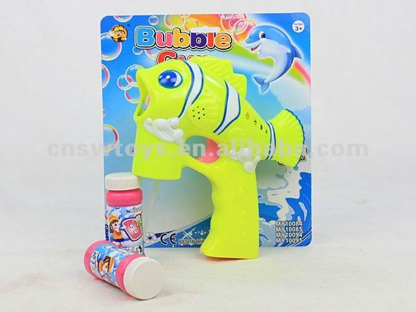 Orange&Yellow color cartoon fish 4 led light flashing bubble gun toys with music & 2 bubble liquid CB1801492