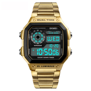 Trend 2018 Skmei 1335 Rose Gold Stainless Steel Watch Popular Digital Gold Wrist Watch