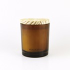 high end amber glass candle jars with wooden lids glass