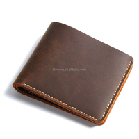 Hot Sale Handmade Crazy Horse Leather Front Pocket Men Card Wallet
