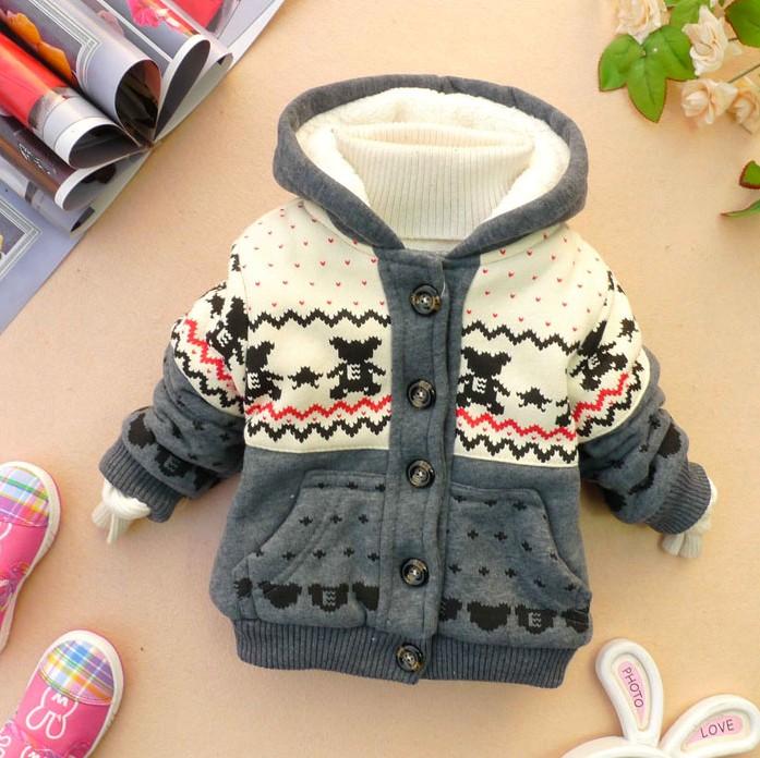 Осень зима толстый бархат куртка для мальчиков девочек холдинг медведь дети толще слой