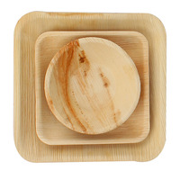 Disposable natural areca palm leaf plate bowl tray and cutlery palm leaf tableware