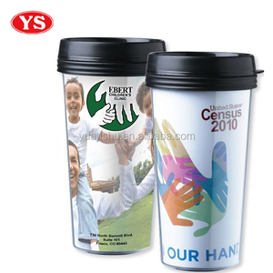 Customized 16 oz 4 color process double wall tumbler with lid