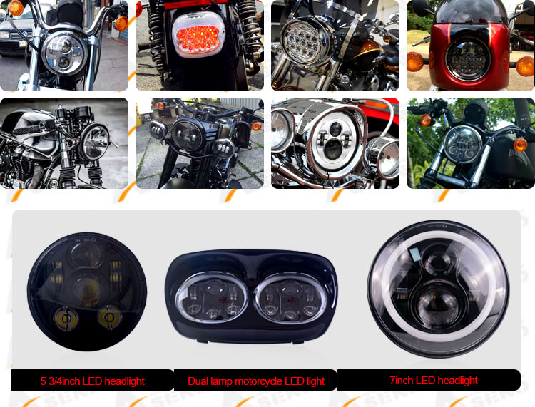 LED Motorcycle with Daytime running light 6000K black bezel 7inch led headlamp for motorbike 3300LM head lights for offroad