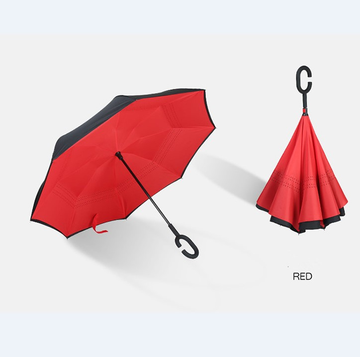 Promotional 23Inch 8Ribs Windproof Double Layers C Handle Reverse Umbrella