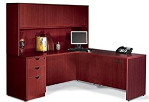 "Offices To Go L Shaped Desk W/Hutch Overall Office Desk Dimensions: 71"" X 72"" (65""H) Desk 71""W X 36""D, Return 36""D X 24""W - American Mahogany - Left Corner (Right shown)"