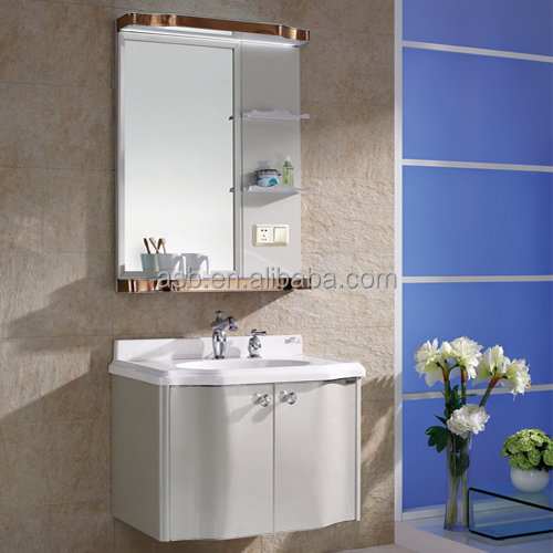 double ss shelves Stainless Steel bath vanity with led light