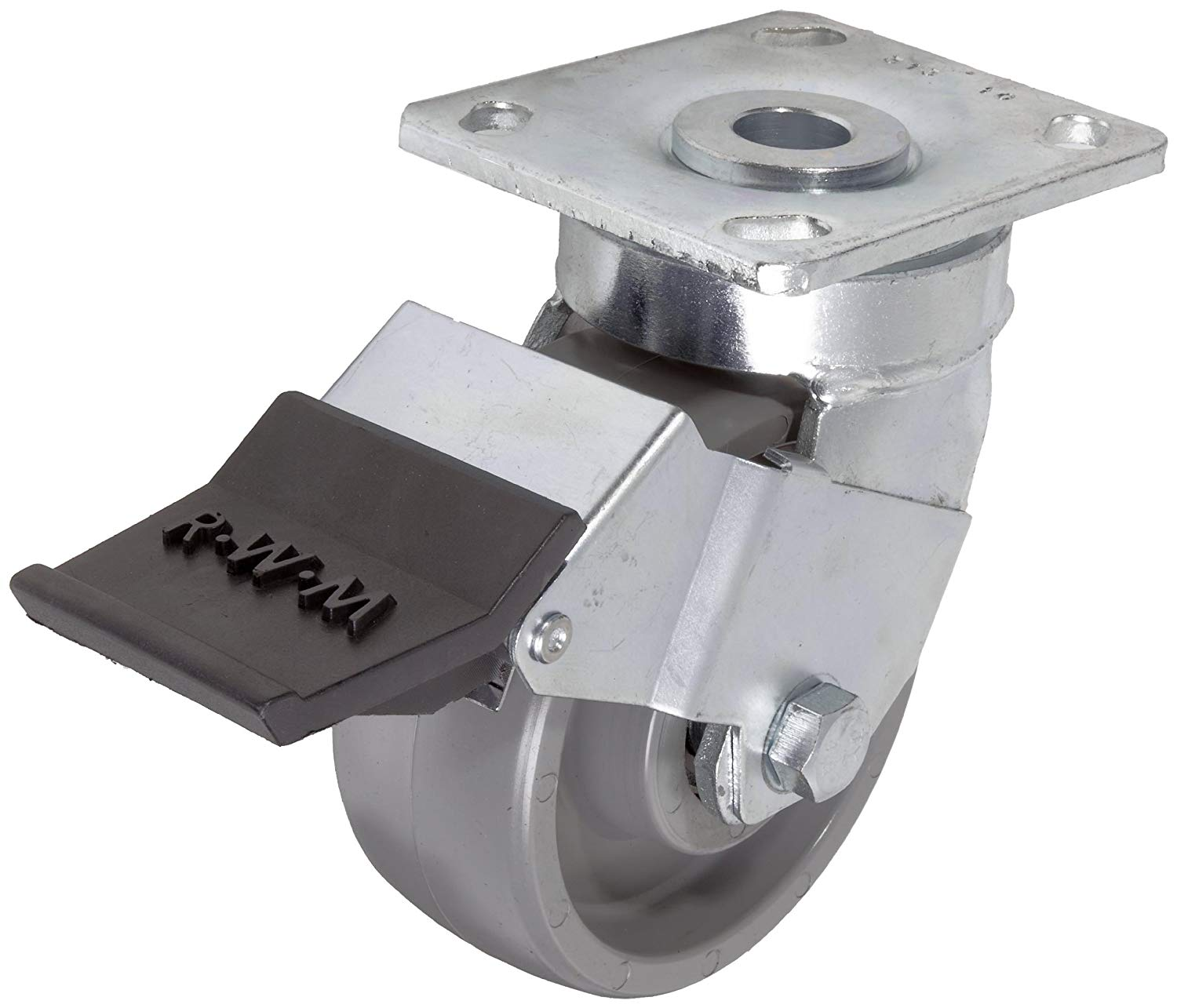 "RWM Casters 65 Series Plate Caster, Swivel with Installable Face Contact Brake, Kingpinless, Elastomer Wheel, Ball Bearing, 1200 lbs Capacity, 5"" Wheel Dia, 2"" Wheel Width, 6-1/2"" Mount Height, 4-1/2"" Plate Length, 4"" Plate Width"