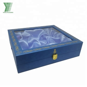 Luxury Durable Metal Lock Satin Cloth Foam Insert Lodgement MDF Cardboard Box With Window