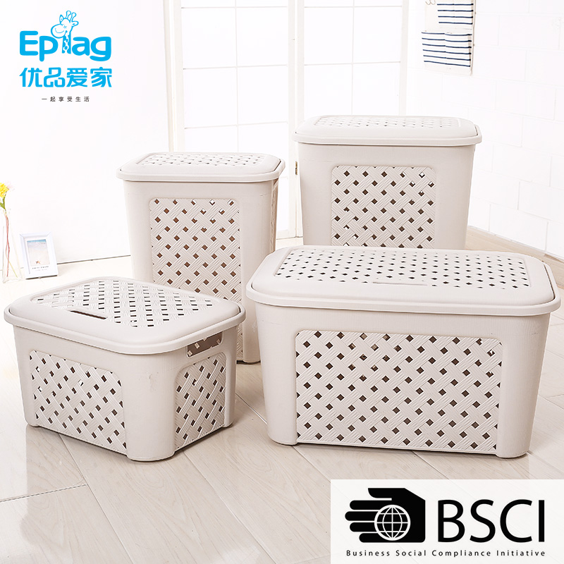 Top 10 save 5% free sample ecofriendly quality Rattan look laundry wicker chest Basket With Lid