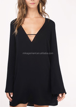 MIKA50266 black long sleeve deep v neck shirt dress for women