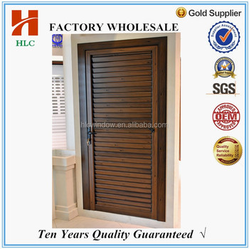 Wooden Color Aluminium Bathroom Door With Louver Bottom
