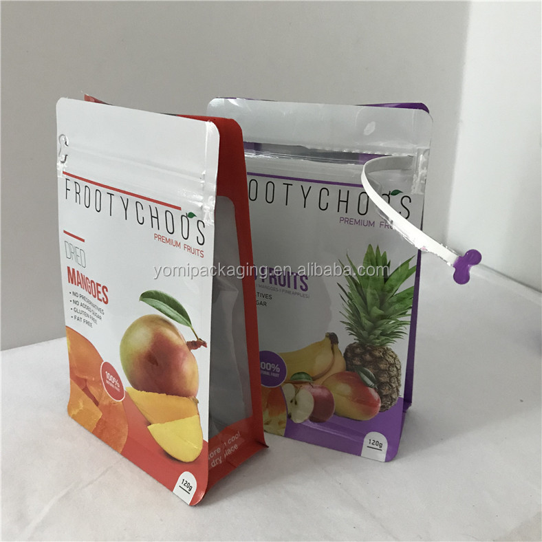 Food grade resealable vegetable dried fruit plastic zipper bags