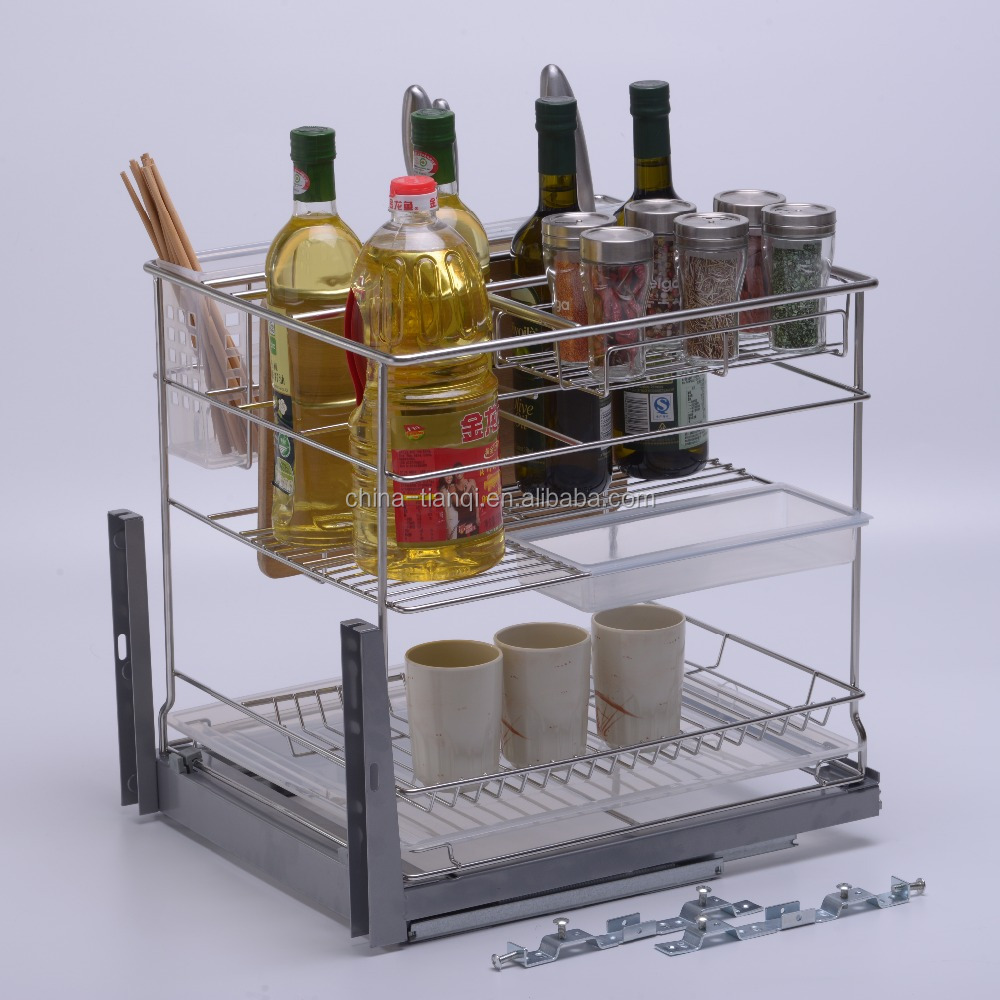 Multifunctional kitchen pull out drawer basket