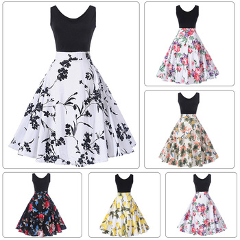 Summer Latest Samples Formal Chinese Printed Vintage Womens Dresses