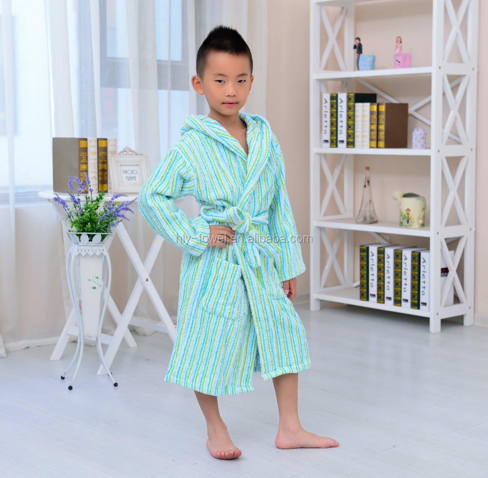 Delicate cotton hooded extra long striped children spa robes