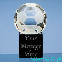 Black Cube Base Crystal Football On Top Paperweight For Custom Engraved