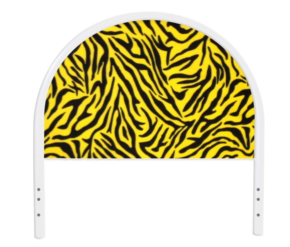 The Furniture Cove New Twin Size Children's Youth White Metal Headboard with Custom Yellow Zebra Print Upholstered Headboard