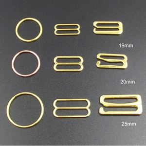 Alloy gold meta bra adjuster ring slider hook for swimwear strap accessories