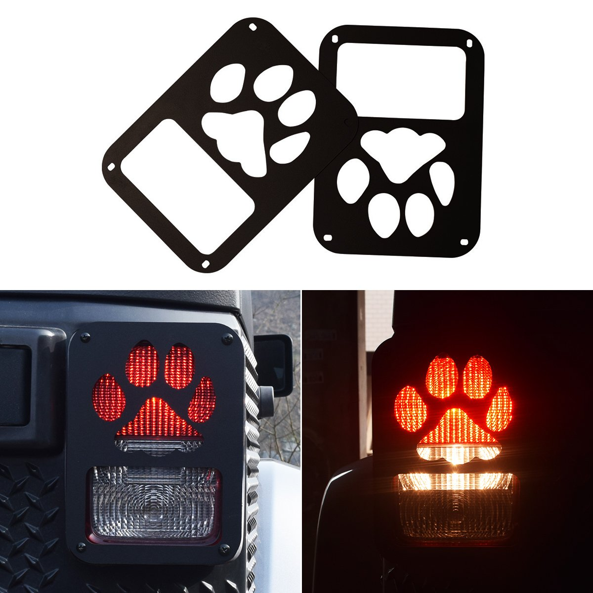ICARS Tail Lamp Tail light Cover Trim Guards Protector Rear Taillights for 2007-2017 Jeep Wrangler JK Unlimited Accessories (Dog Paw Style)