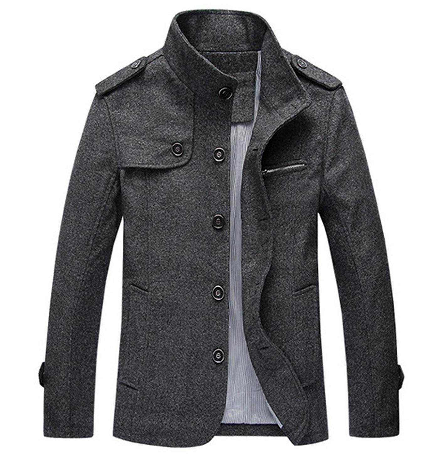 8c2dbf8e2f8 Get Quotations · YGT Men s Wool Blend Top Coat Single Breasted Buttons  Military Inspired Trench Coat