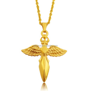 Olivia European And American Wholesale Punk Rock Style Stainless Steel Gold Cross Wings Necklace Jewelry