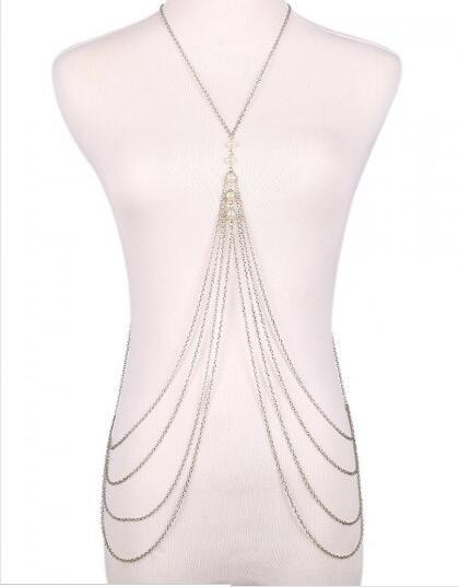 crystal chain sparkling necklace bra sexy chains women statement body fash sparkle harness index