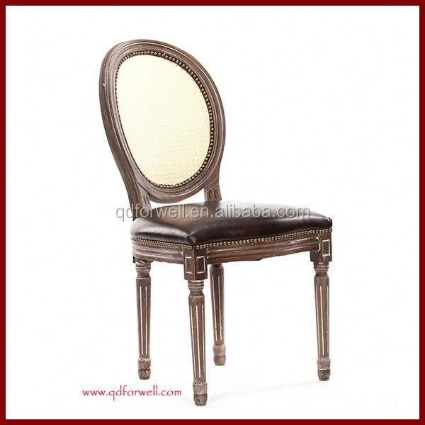 Stackable Wooden Round Back Dining Chair Antique Carving Ghost