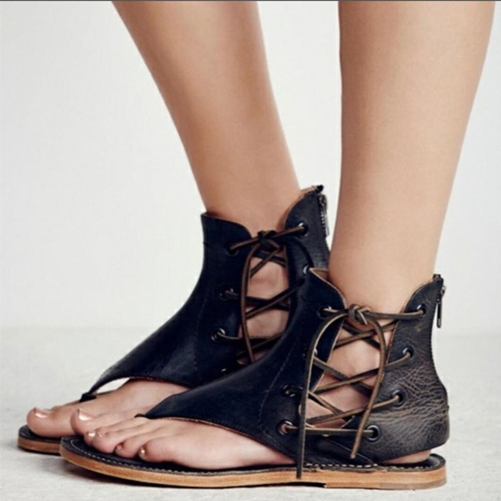 8efc3c744808fe Get Quotations · Hemlock Women Strappy Sandals Size 9 Beach Flat Sandals  Slipper Flip Flops Roman Shoes (US