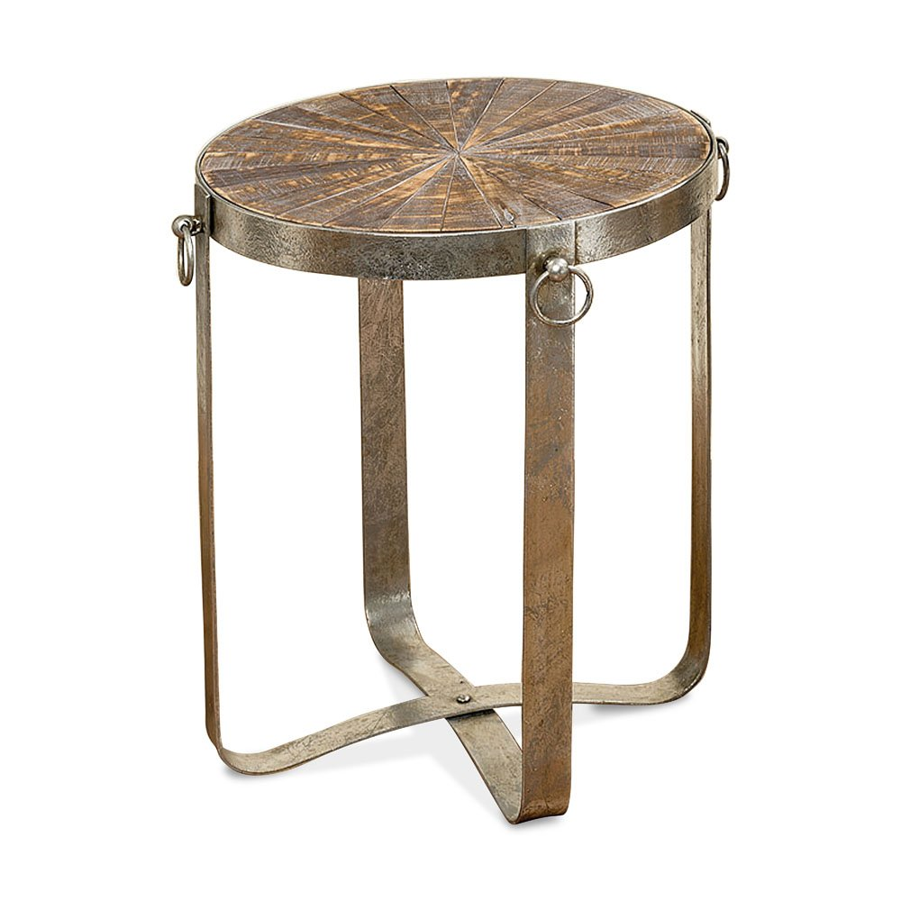 Whole House Worlds The Crosby Street Chic Round Table, Pinwheel Inlayed Reclaimed Wood Top, Silver Lacquered Iron Base, 27 1/2 D x 18 1/8 H Inches, By