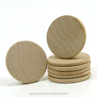 oem supply Unfinished custom laser cut Wooden round pieces