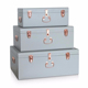 Set of 3 Home Decoration Metal Storage Trunk With Rose Gold Accessories