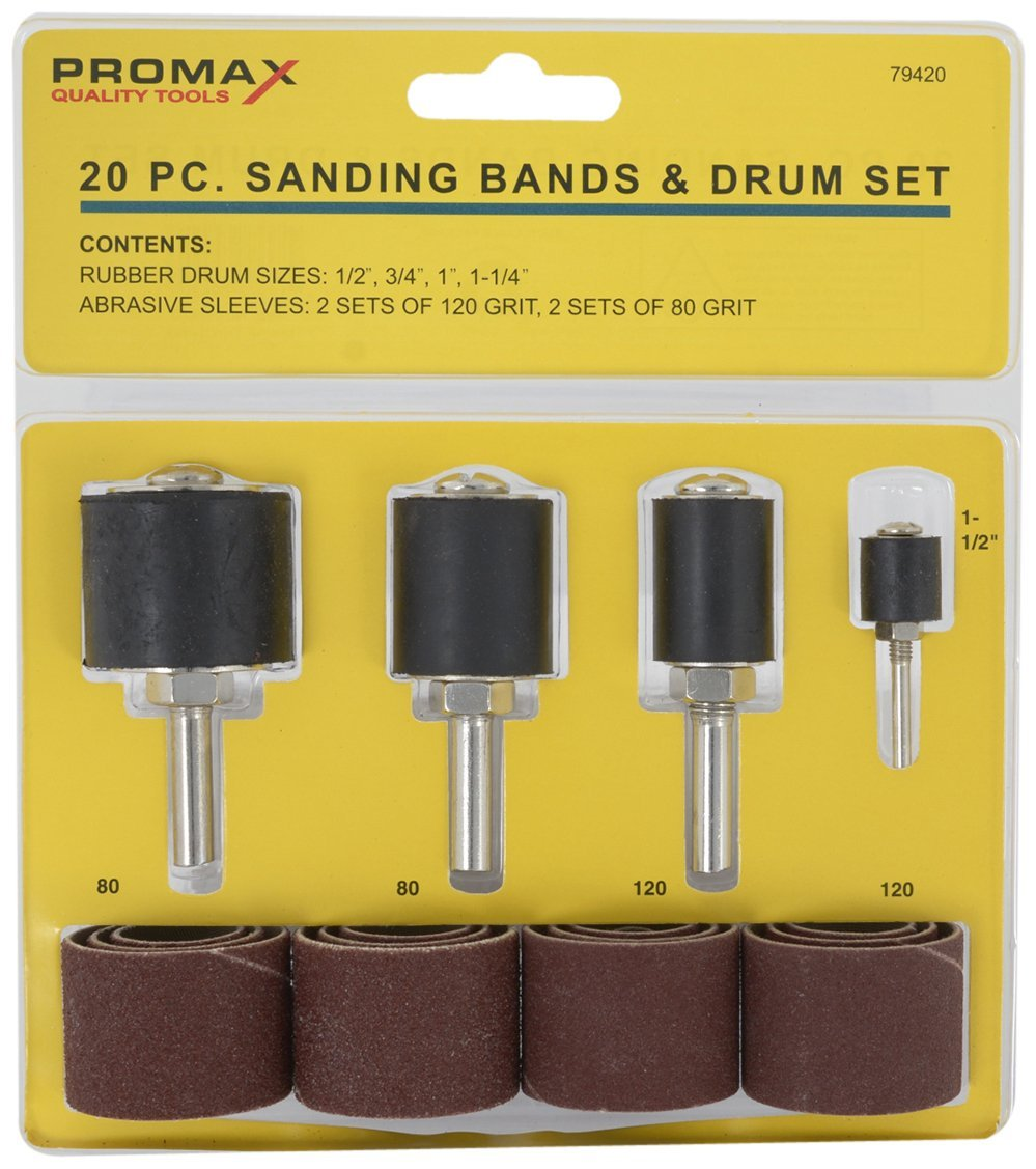 "MSI Promax, WWA79420, 20-piece sanding bands and drum kit, Includes - 4 rubber drum sized; 1/2"", 3/4"", 1"" and 1-1/4"" and 16 replacement sanding bands"