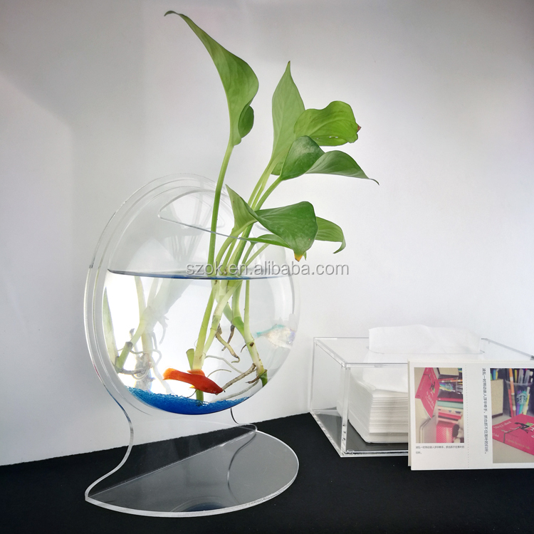 Custom desktop clear ronde acryl aquarium