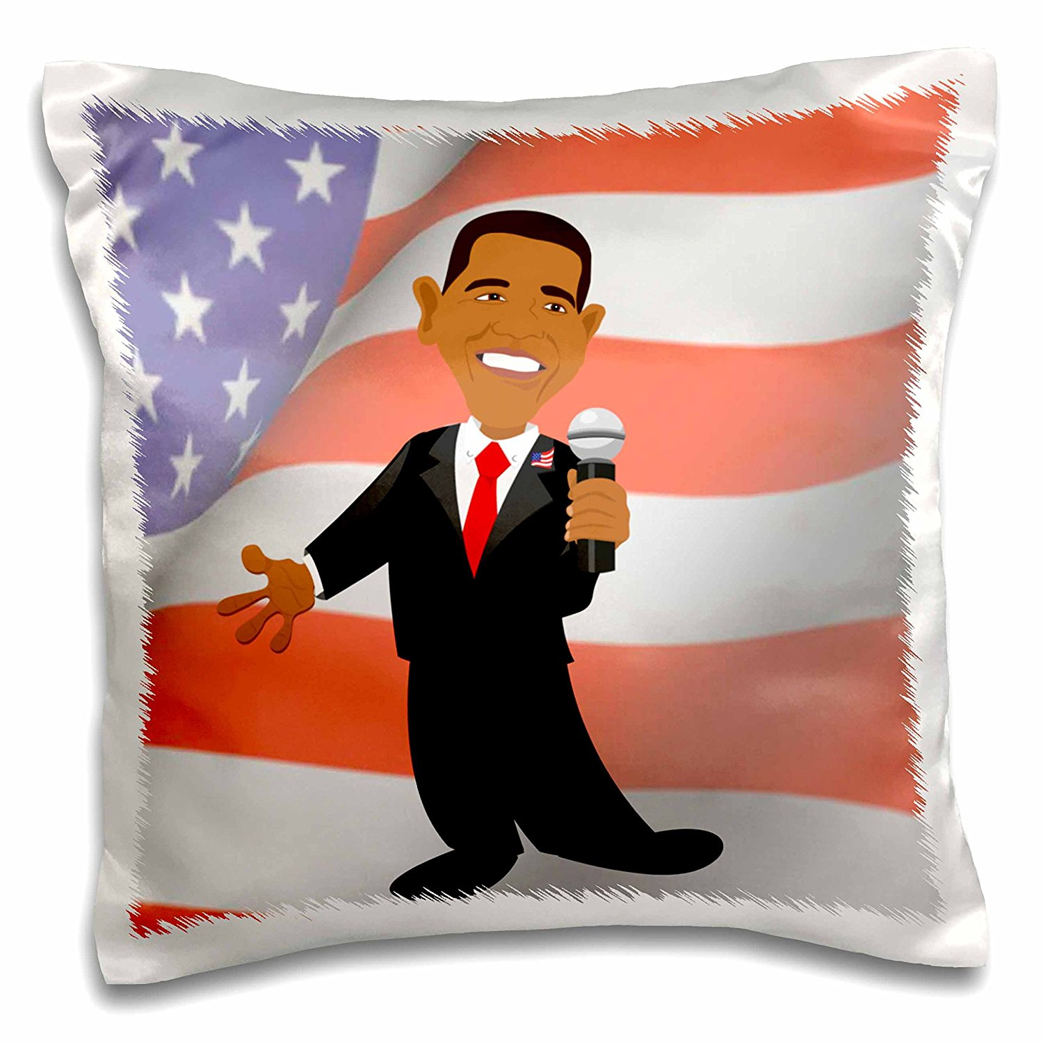 Edmond Hogge Jr Presidents - President Barack Obama With American Flag - 16x16 inch Pillow Case (pc_60091_1)