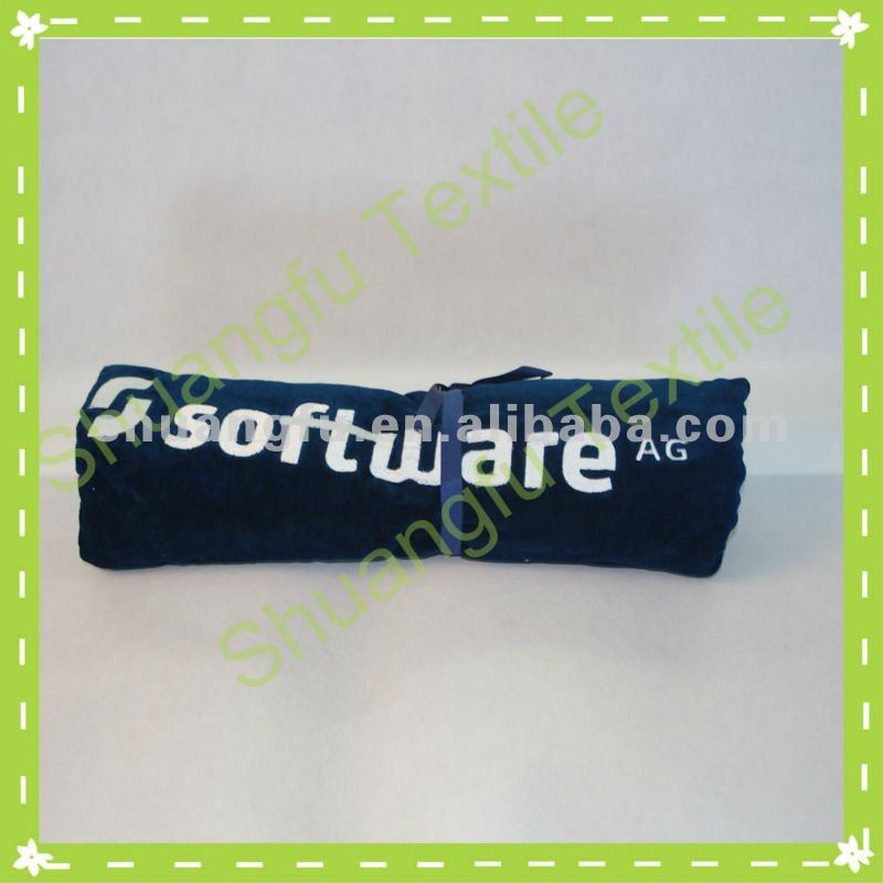 100%cotton wet blue embroidery logo portable outdoor blanket