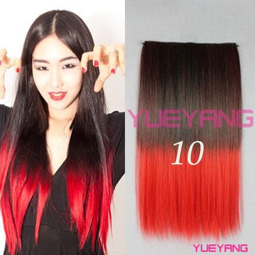 Panjang Lurus Merah Ke Ungu Ombre Warna Rambut Berwarna Slice