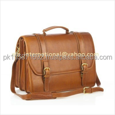 Genuine cow light brown leather briefcase leather bag