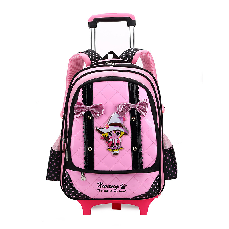 Waterproof 3 Wheels Children School Palou Trolley Suitcase Bag Kids School Bags girl & boy Travel Student Wheeled Backpack