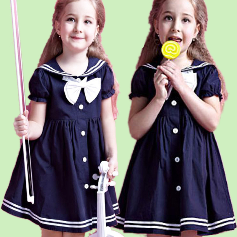Girls Cotton Frock Designs Beautiful Embroidered Bowknot Casual Dress фото