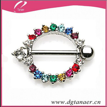 316L Surgical Steel colorful gemmed nipple ring shield for 2015 new style piercing jewelry